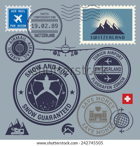 Switzerland theme stamps or labels set, vector illustration - stock vector