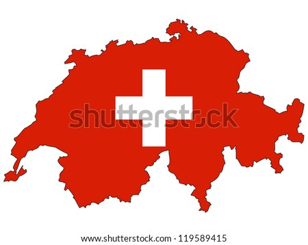 Switzerland vector map with the flag inside.