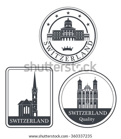Switzerland. Vector. Silhouette. Icon. Sign. Set