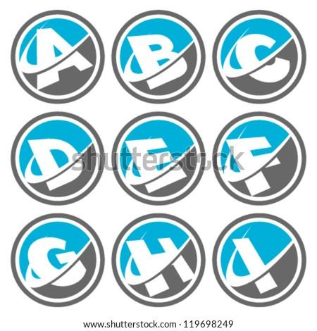 Swoosh Alphabet Logo Icons Set 1 - stock vector