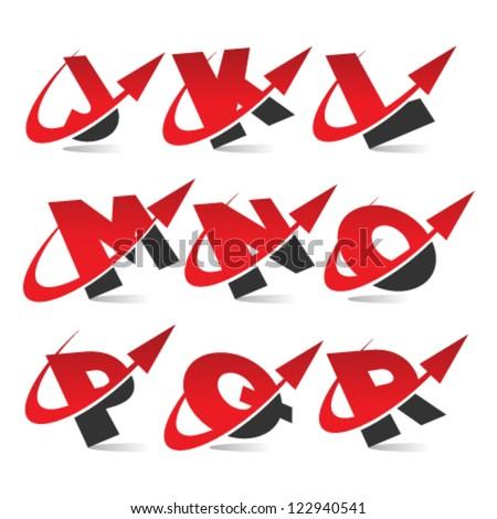 Swoosh arrow alphabet logo icons set 2 - stock vector