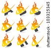 Swoosh flame alphabet set 1 - stock photo
