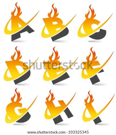 Swoosh flame alphabet set 1 - stock vector