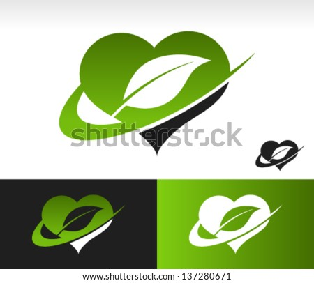 Swoosh Green Heart Logo with Leaf - stock vector