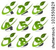 Swoosh green numbers with leaf icon Set 4 - stock photo