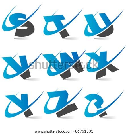 Swoosh Logo Alphabet Set 3 - stock vector