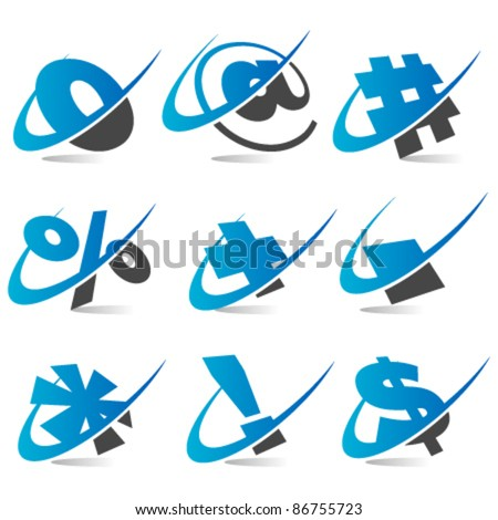 Swoosh Logo Symbols Set 5 - stock vector