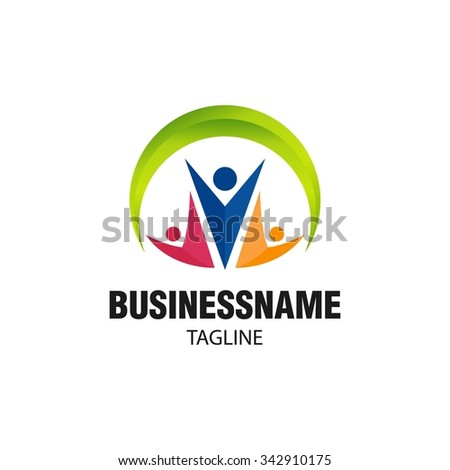 Swoosh People Logo Vector Template