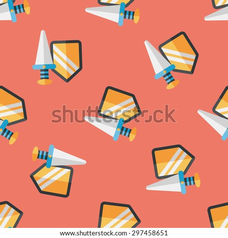 Sword and Shield flat icon,eps 10 seamless pattern background - stock vector