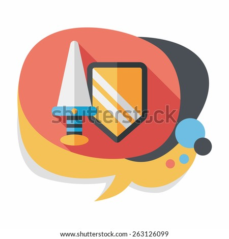 Sword and Shield flat icon with long shadow,eps 10 - stock vector