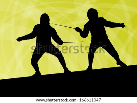 Sword fighters active young men fencing sport silhouettes vector abstract background illustration