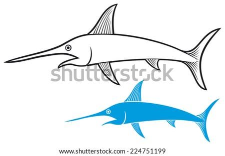 sword fish - stock vector
