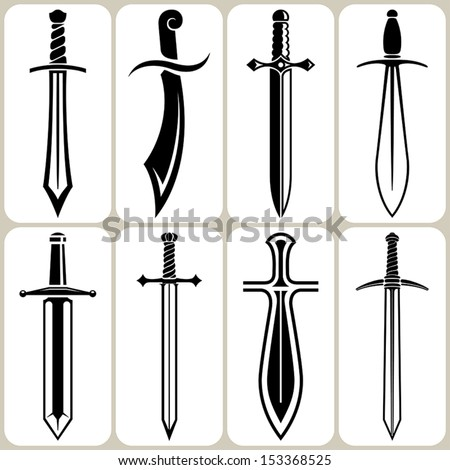 sword icons set - stock vector