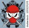 sword skull - stock vector