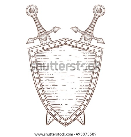 Swords and shield. Hand drawn sketch. Vector illustration isolated on white background