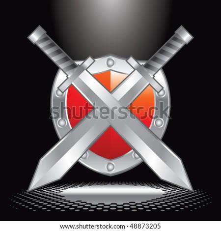 swords and shield under spotlight - stock vector