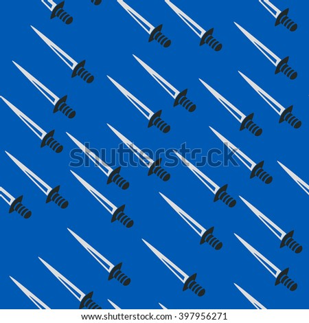 Swords back pattern seamless blue - stock vector