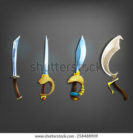 Swords set. Vector illustration. - stock vector