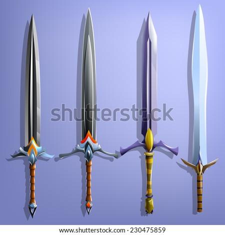 Swords set. Vector illustrations. - stock vector