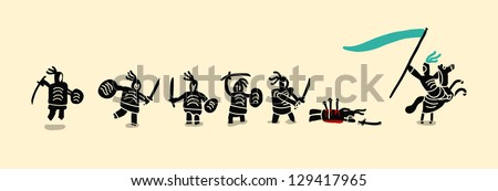 swordsman and standard bearer set - stock vector