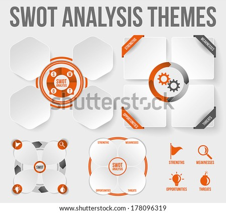 SWOT Analysis Themes. Scalable vector, texts and layers outlined. - stock vector
