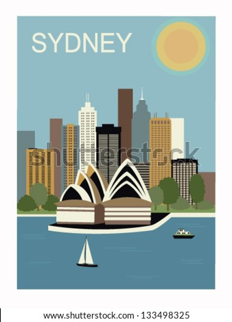 Sydney. Australia.Vector illustration - stock vector