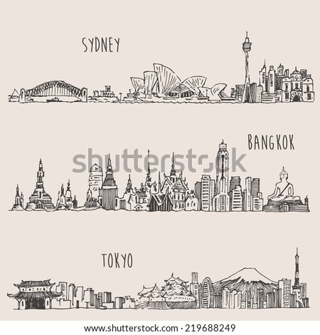 Sydney, Bangkok, Tokyo, big city architecture, vintage engraved illustration, hand drawn, sketch - stock vector