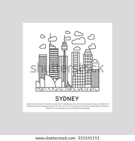 sydney city line vector illustration - stock vector