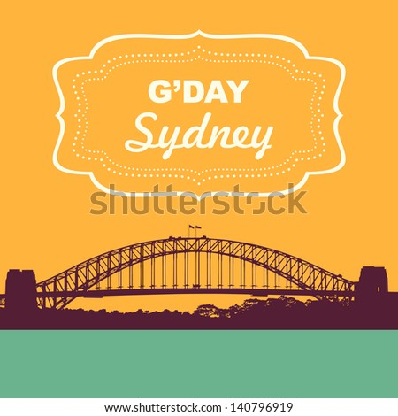 Sydney Harbour Bridge. Vintage style vector illustration - stock vector