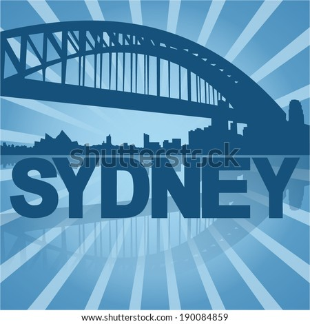 Sydney skyline reflected with blue sunburst vector illustration - stock vector