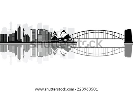 sydney skyline with the bridge and opera house near the river - stock vector