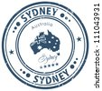 sydney stamp - stock vector