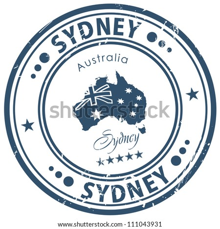 sydney stamp - stock vector