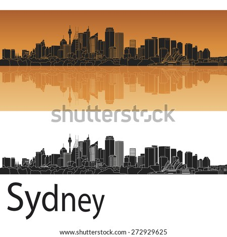 Sydney V2 skyline in orange background in editable vector file - stock vector