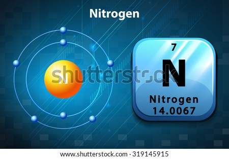 Symbol and electron diagram for Nitrogen illustration - stock vector