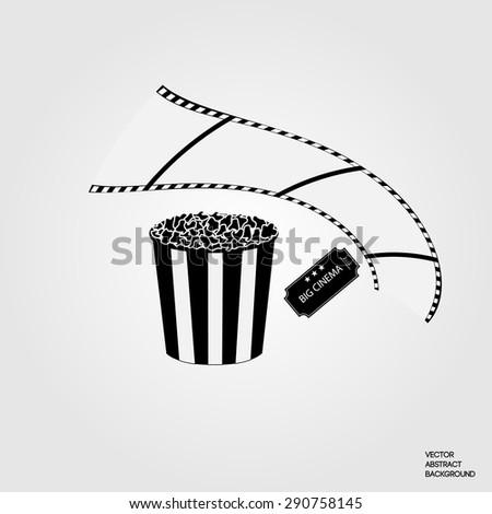 Symbol cinema. Monochrome vector illustration - stock vector