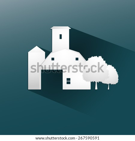 Symbol farm stable  design, with a long flat shadow vector illustration eps10 graphic - stock vector