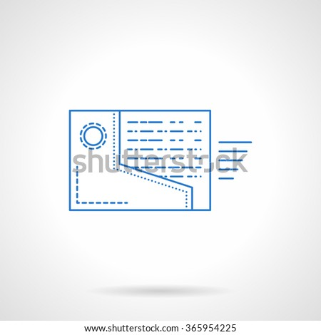 Symbol for organizer application, support, receive mail. Folder with letter moving out. Blue thin line style vector icon. Single web design element for mobile app or website. - stock vector