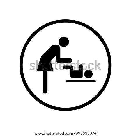 Symbol For Women And Baby Toilet Icon In Circle Vector Illustration