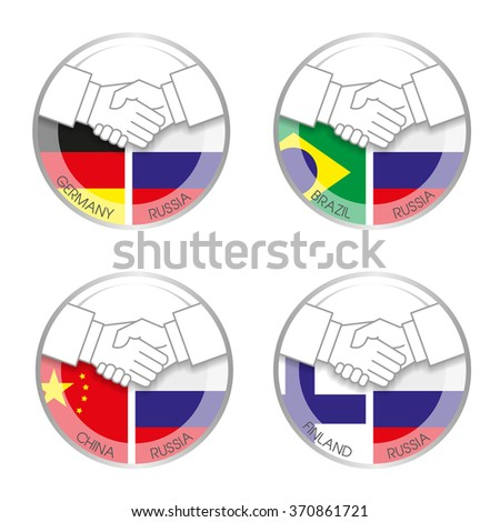 Symbol handshake Russia with other countries. Icons with a handshake on the background of different national flags. - stock vector