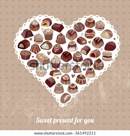 Symbol Heart made of different chocolate candies on light background. Dark, milk, white chocolate. For your design, announcements, postcards, posters, restaurant menu. - stock vector