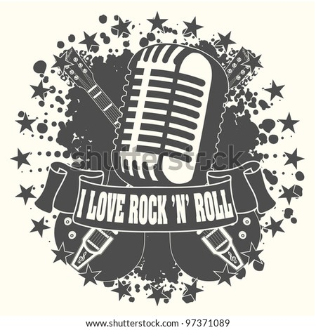 Symbol I love a rock'n'roll - stock vector