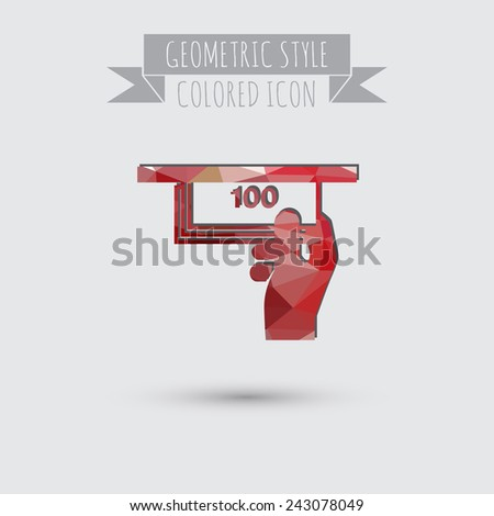 symbol issuing or receiving money from an ATM . financial icon . money is given . - stock vector