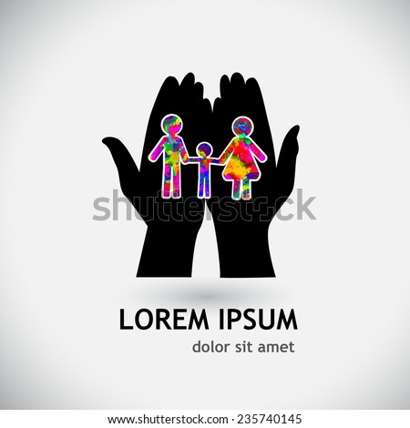 Symbol logo family. Mom dad and baby. Vector - stock vector