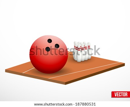 Symbol of a bowling game and field in three-dimensional space. Vector illustration. - stock vector