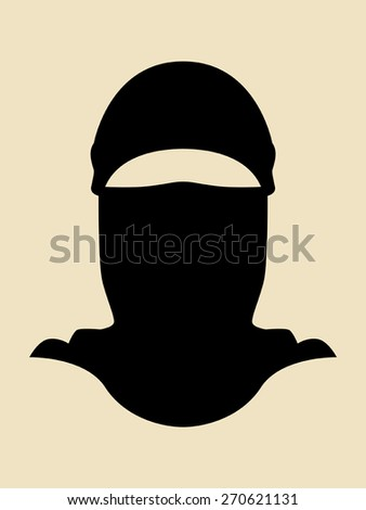 Symbol of a man wearing a full cover mask - stock vector
