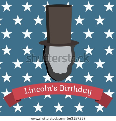 Symbol of a man with beards wearing 19th century hat. Greeting on red trip. Blue background with white stars. Lincoln's birthday. Vector illustration