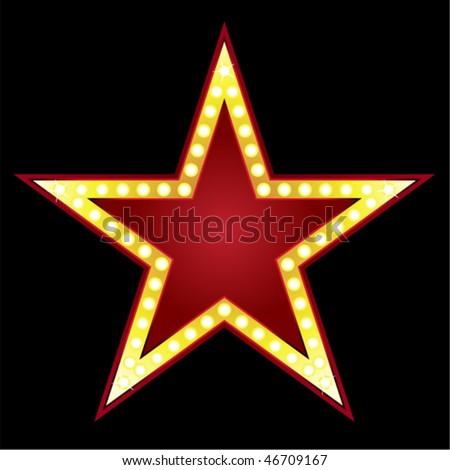 Symbol Big Red Star On Black Stock Vector 46709167 Shutterstock