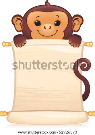 Symbol of Chinese horoscope - monkey with scroll - stock vector