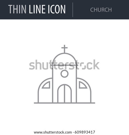 Symbol Church Thin Line Icon City Stock Vector Hd Royalty Free